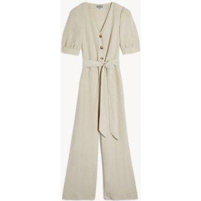 "M&S Jaeger Womens Tencelâ""¢ Belted Short Sleeve Jumpsuit - 6 - Natural, Natural"