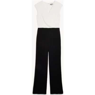 M&S Jaeger Womens Silk Sleeveless Wrap Jumpsuit - 8 - White/Black, White/Black