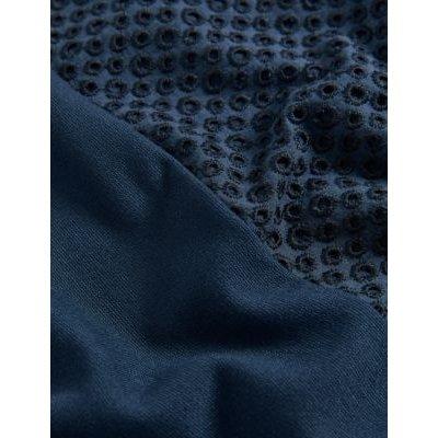 M&S Jaeger Womens Jersey Broderie Knee Length Shift Dress - Navy, Navy