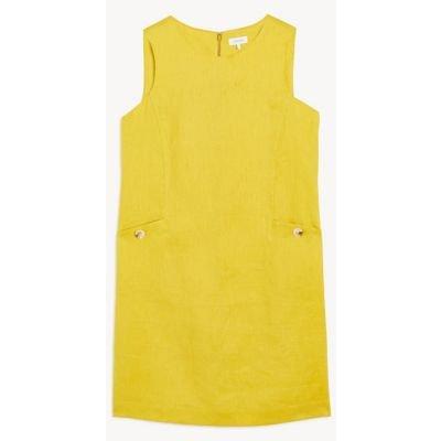 M&S Jaeger Womens Pure Linen Sleeveless Shift Dress - 6 - Lime, Lime