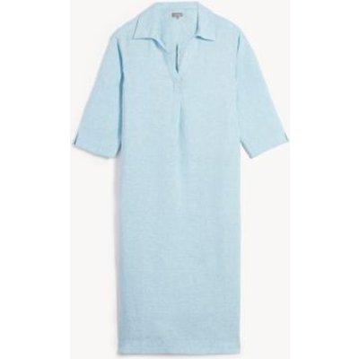 M&S Jaeger Womens Pure Linen V-Neck Maxi Smock Dress - 8 - Blue, Blue