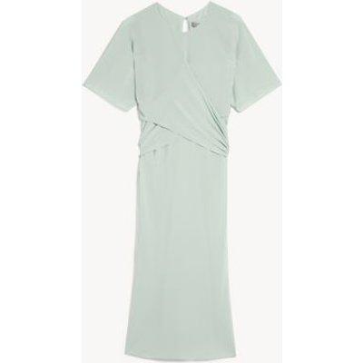 M&S Jaeger Womens Pure Silk Draped Midi Waisted Dress - 6 - Mint, Mint