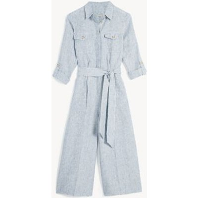 M&S Jaeger Womens Pure Linen Striped Jumpsuit - 6 - Navy/White, Navy/White