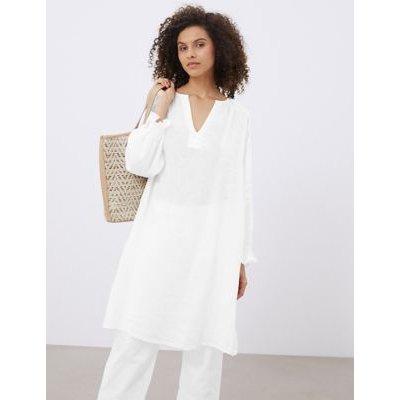 M&S Jaeger Womens Pure Linen V-Neck 3/4 Sleeve Smock Dress - 10 - White, White