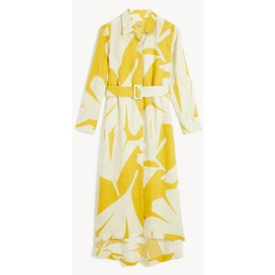 M&S Jaeger Womens Pure Linen Printed Belted Midi Shirt Dress - 8 - Lime, Lime