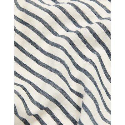 M&S Jaeger Womens Pure Linen Striped Robe - Navy/White, Navy/White
