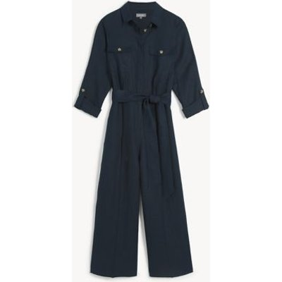 M&S Jaeger Womens Pure Linen Belted 3/4 Sleeve Jumpsuit - 8 - Navy, Navy