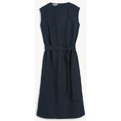 M&S Jaeger Womens Pure Linen Sleeveless Midi Shift Dress - 6 - Navy, Navy