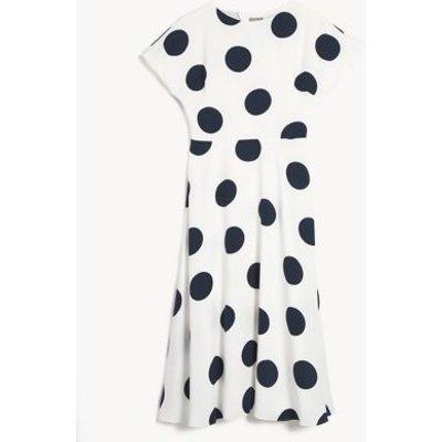 M&S Jaeger Womens Polka Dot Round Neck Midi Waisted Dress - 8 - White/Navy, White/Navy