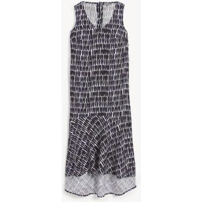 M&S Jaeger Womens Pure Linen Printed V-Neck Maxi Smock Dress - 8 - Navy/White, Navy/White