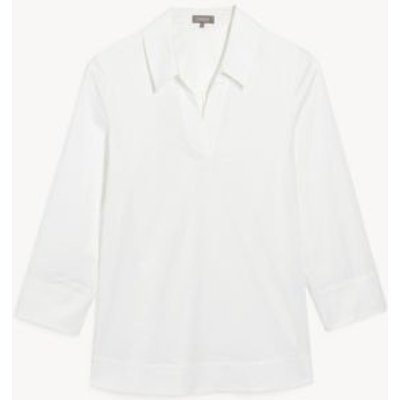 M&S Jaeger Womens Cotton Collared Long Sleeve Tunic - 8 - White, White