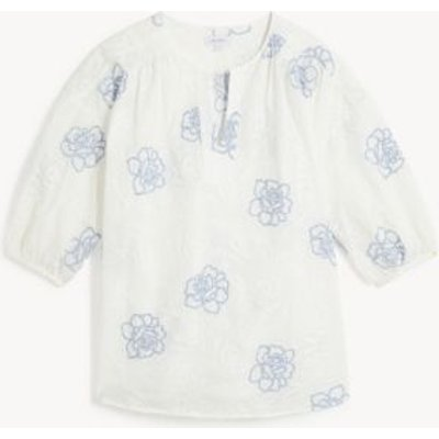 M&S Jaeger Womens Pure Cotton Embroidered 3/4 Sleeve Blouse - 6 - White Mix, White Mix