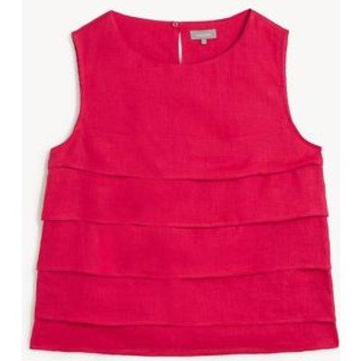 M&S Jaeger Womens Pure Linen Round Neck Sleeveless Blouse - 8 - Hot Pink, Hot Pink