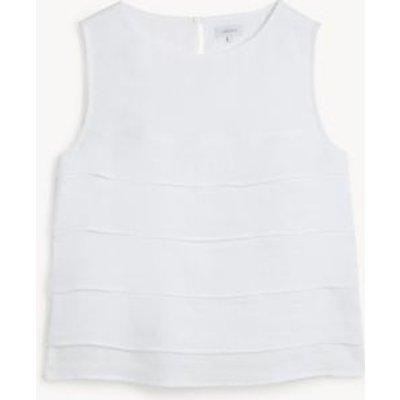 M&S Jaeger Womens Pure Linen Round Neck Sleeveless Blouse - 16 - White, White