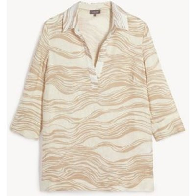 M&S Jaeger Womens Pure Linen Printed V-Neck 3/4 Sleeve Blouse - 8 - Natural Mix, Natural Mix