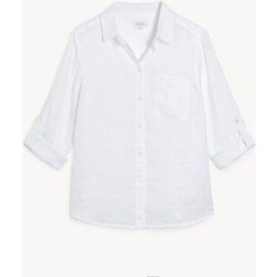 M&S Jaeger Womens Pure Linen Collared 3/4 Sleeve Shirt - 8 - White, White