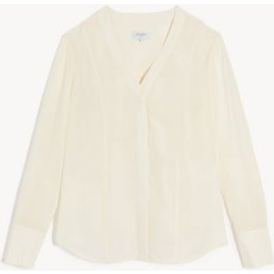 M&S Jaeger Womens Pure Silk Long Sleeve Blouse - 8 - Ivory, Ivory