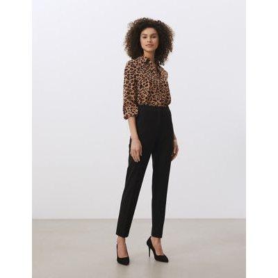 M&S Jaeger Womens Pure Silk Animal Print Shirt - 6 - Tan, Tan