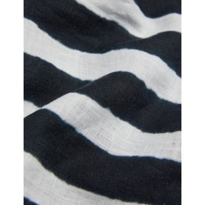 M&S Jaeger Womens Pure Linen Striped Collared Tunic - 6 - Navy/White, Navy/White
