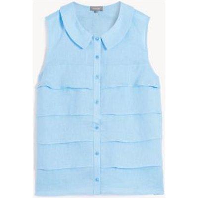 M&S Jaeger Womens Pure Linen Collared Sleeveless Blouse - 16 - Light Blue, Light Blue