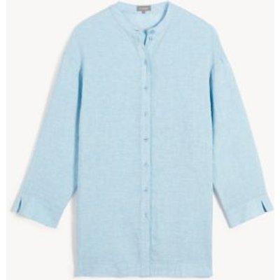 M&S Jaeger Womens Pure Linen Lounge Tunic - 8 - Blue, Blue