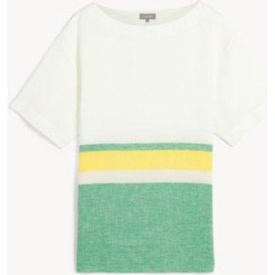 M&S Jaeger Womens Pure Linen Striped Short Sleeve Top - 6 - Green Mix, Green Mix