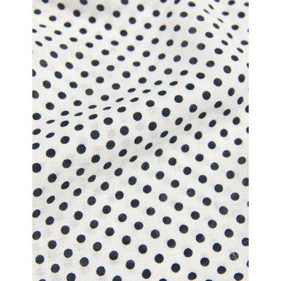 M&S Jaeger Womens Pure Linen Polka Dot V-Neck Sleeveless Top - 16 - White/Navy, White/Navy