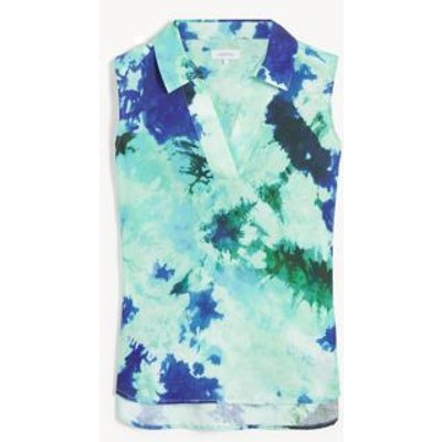 M&S Jaeger Womens Pure Linen Tie Dye V-Neck Sleeveless Tunic - 6 - Blue Mix, Blue Mix
