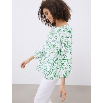 M&S Jaeger Womens Pure Linen Floral 3/4 Sleeve Blouse - 8 - Green, Green