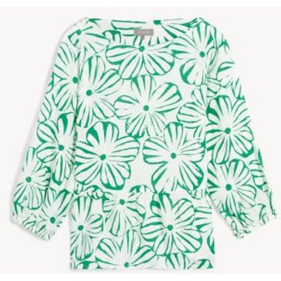 M&S Jaeger Womens Pure Linen Floral 3/4 Sleeve Blouse - 6 - Green, Green