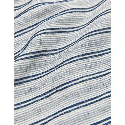 M&S Jaeger Womens Pure Linen Striped Lounge Shirt - 10 - Blue, Blue