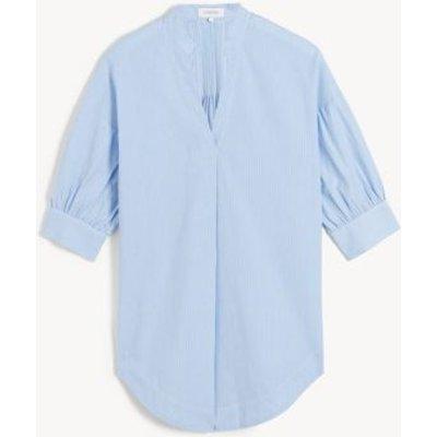 M&S Jaeger Womens Pure Cotton Striped Puff Sleeve Shirt - 6 - Blue/White, Blue/White