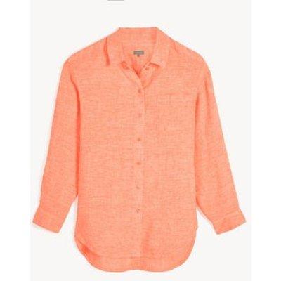 M&S Jaeger Womens Pure Linen Collared 3/4 Sleeve Shirt - 6 - Orange, Orange