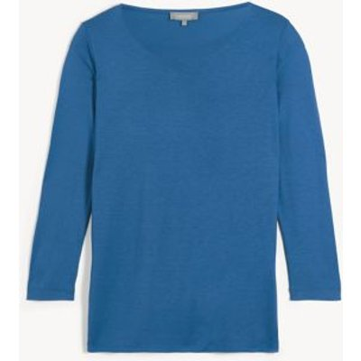 M&S Jaeger Womens Jersey Scoop Neck 3/4 Sleeve Top - XS - Blue, Blue,Red,Brown