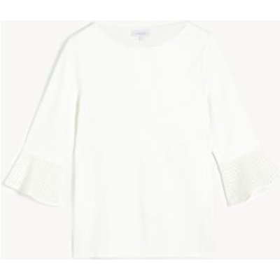 M&S Jaeger Womens Broderie Round Neck 3/4 Sleeve Blouse - White, White