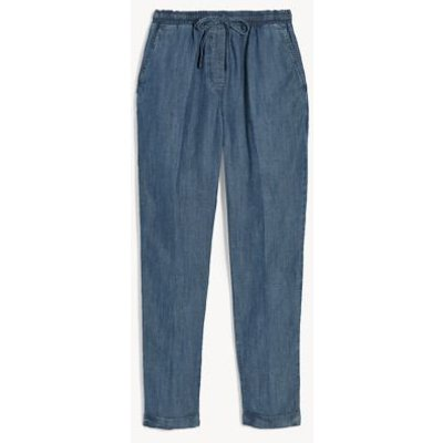 M&S Jaeger Womens Drawstring Tapered Joggers - 8 - Blue, Blue