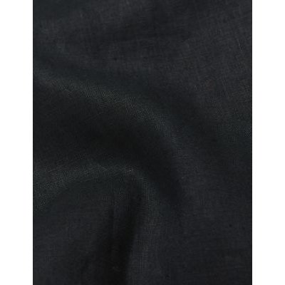 M&S Jaeger Womens Pure Linen Tapered Ankle Grazer Trousers - 6 - Black, Black