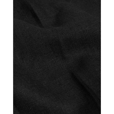 M&S Jaeger Womens Pure Linen Straight Leg Trousers - 8 - Black, Black,Navy