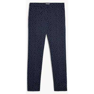 M&S Jaeger Womens Cotton Polka Dot Tapered Trousers - 6 - Navy/White, Navy/White