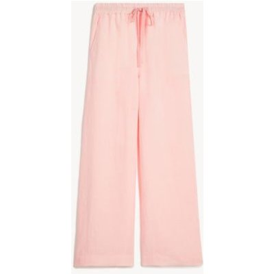 M&S Jaeger Womens Pure Linen Lounge Trousers - 8 - Pink, Pink,Navy