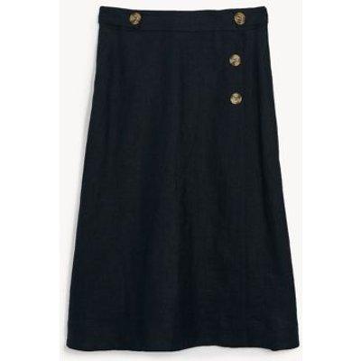 M&S Jaeger Womens Pure Linen Skirt - 6 - Navy, Navy