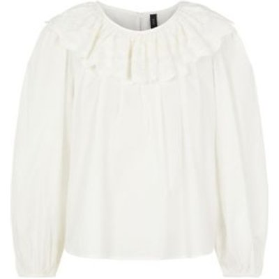 M&S Y.A.S Womens Organic Cotton Long Sleeve Blouse - White, White