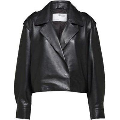 M&S Selected Femme Womens Leather Biker Jacket - 36 - Black, Black