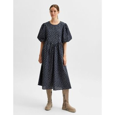 M&S Selected Femme Womens Pure Cotton Floral Midi Smock Dress - 36 - Blue, Blue