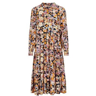 M&S Y.A.S Womens Floral Button Front Midi Tiered Shift Dress - Pink Mix, Pink Mix
