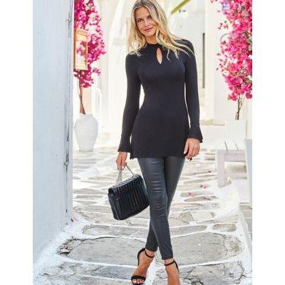 M&S Sosandar Womens Jersey High Neck Long Sleeve Tunic - 8 - Black Mix, Black Mix