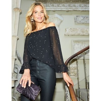 M&S Sosandar Womens Sheer Geometric Long Sleeve Blouse - 8 - Black Mix, Black Mix