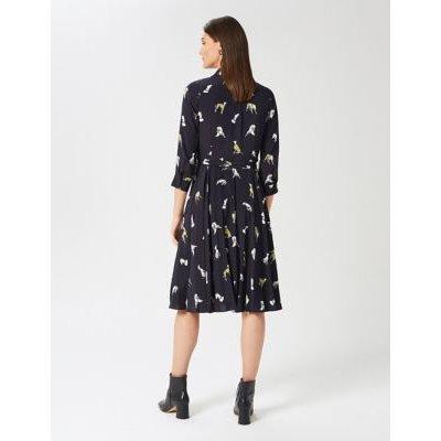 M&S Hobbs Womens Dog Print Belted Midi Shirt Dress - 6 - Navy Mix, Navy Mix