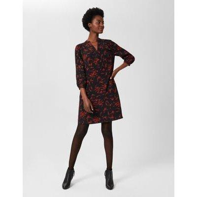 M&S Hobbs Womens Floral V-Neck Knee Length Swing Dress - 8 - Black Mix, Black Mix