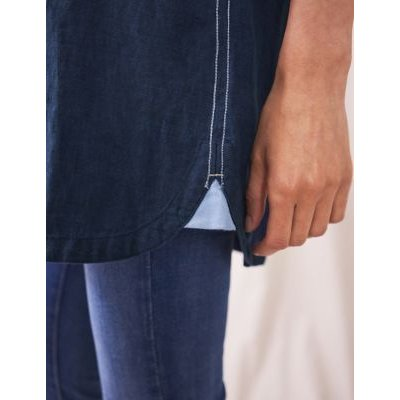 M&S White Stuff Womens Pure Linen Collared 3/4 Sleeve Tunic - 8 - Navy, Navy